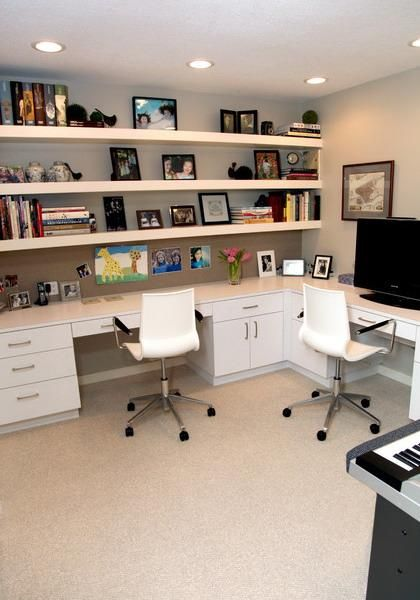 black adidas womens running shoes space saving ideas and furniture placement for small home office design I like the long desk with shelving plus the wood tops and white