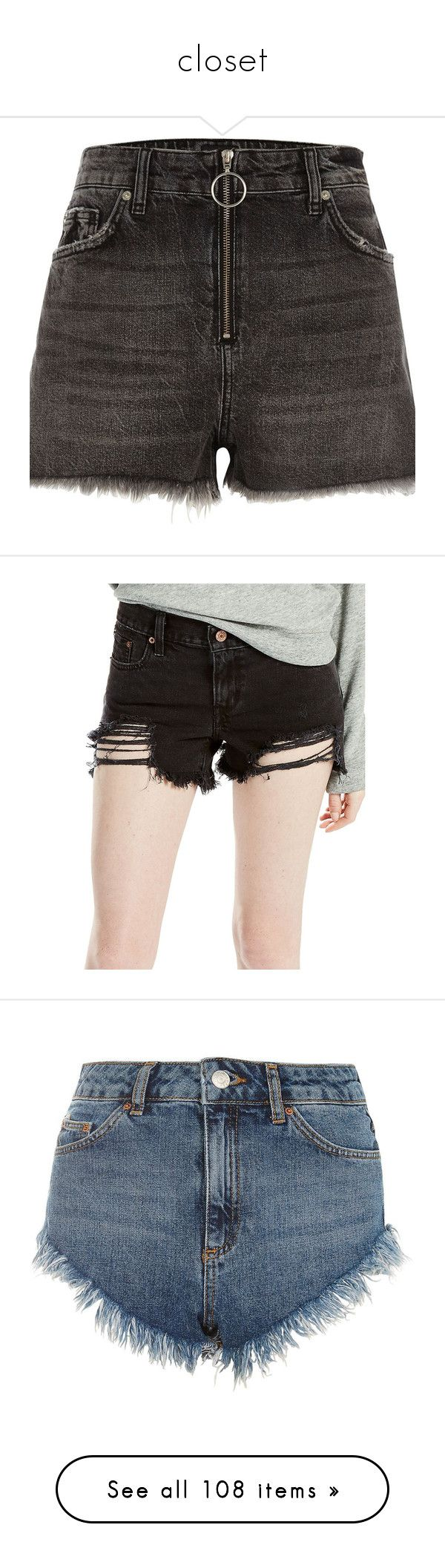 """closet"" by blenm ❤ liked on Polyvore featuring shorts, black, casual shorts, women, ripped shorts, distressed shorts, high waisted destroyed shorts, high rise denim shorts, ripped denim shorts and zipper shorts"