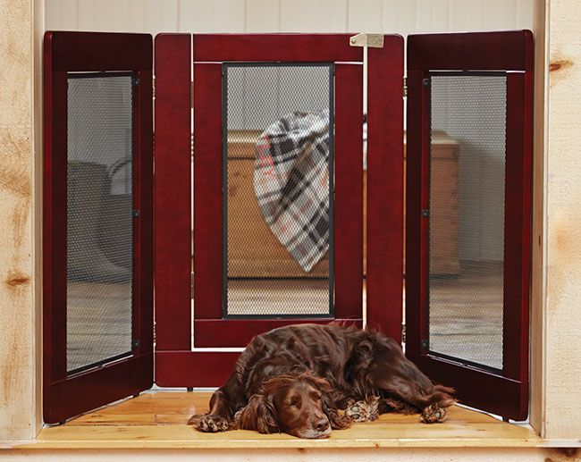 "This great-looking freestanding dog gate features a finished black mesh screen within a handsome pine wood frame, offering a modern look that is sure to fit in with your home's décor (and has no spindles for your dog to chew). A freestanding gate allows you to quickly and easily block your dog from entering any area of your home—ideal for long-term and temporary uses. Folds flat for easy storage when not in use. In dark cherry. 34""H. Panels are 24""W. Imported."