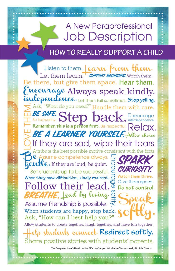 "How to really support a child! Inspirational ideas from ""The Paraprofessional's Handbook for Effective Support in Inclusive Classrooms."" Get your hands on the book here: http://www.inspireinclusion.com/books/"