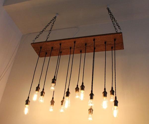 Repurposed Oak Hanging Light With Edison Bulbs