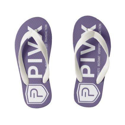 PIVX White Purple Kids Flip Flops - kids kid child gift idea diy personalize design