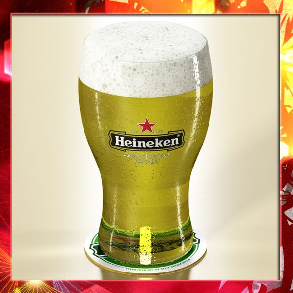 Heineken Beer - Pint Glass 3D Model- Photorealistic and High Detailed Heineken Pint of Beer and Coaster - 3 Models.      Formats :    Max2009 V-ray  Max2009 scanline  Obj  Fbx  3ds      *V-ray materials and default scanline materials included in all formats.      **************************************************************      -Model has real-world scale.    -Model is centered at 0,0,0.    -All object are named.    -All materials are named.    -No unnecessary objects.    -Model looks like…