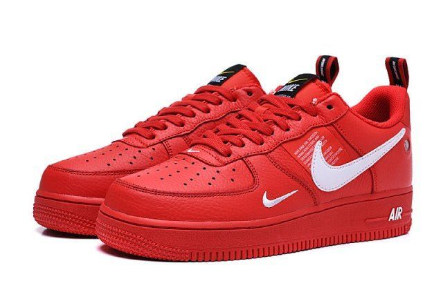 Nike Air Force 107 AF1 Red/White Men's/Women's Sneakers ...