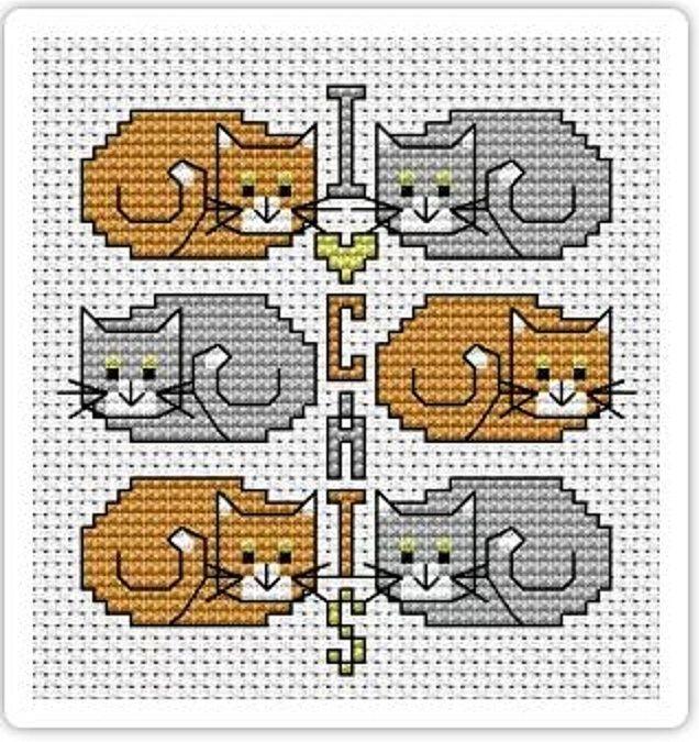 """Любители кошек оценят схему вышивки крестом, посвящённую хвостатым питомцам. Это признание в любви братьям нашим меньшим, которое и вышить в радость, и посмотреть на картинку приятно.""""Я люблю кошек"""" - утверждение, которое относится ко многим из нас. Вышивка кошек крестом, которую вы видите на фотографии - разработка Alita Designs."""