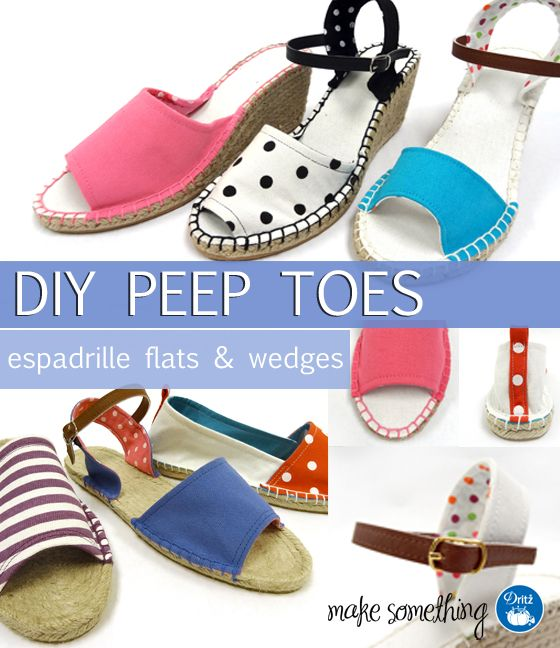 Check out the new sewing patterns and complete instructions available for sewing Dritz Espadrilles peep toe flats and wedges (slip ons and sandals).