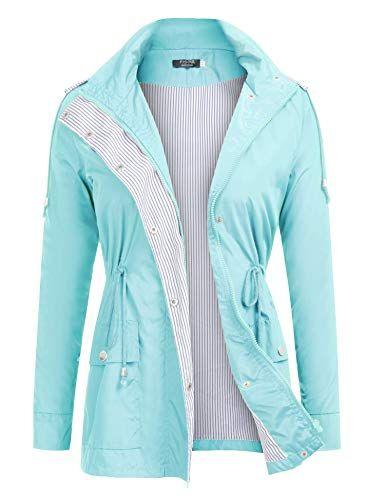 9dbc8a537fb59 Amazon.com: FISOUL Raincoats Waterproof Lightweight Rain Jacket Active  Outdoor Hooded Women's Trench Coats: Clothing