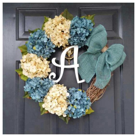 every day wreath  turquoise and cream wreath with burlap bow and monogram  housewarming  wedding