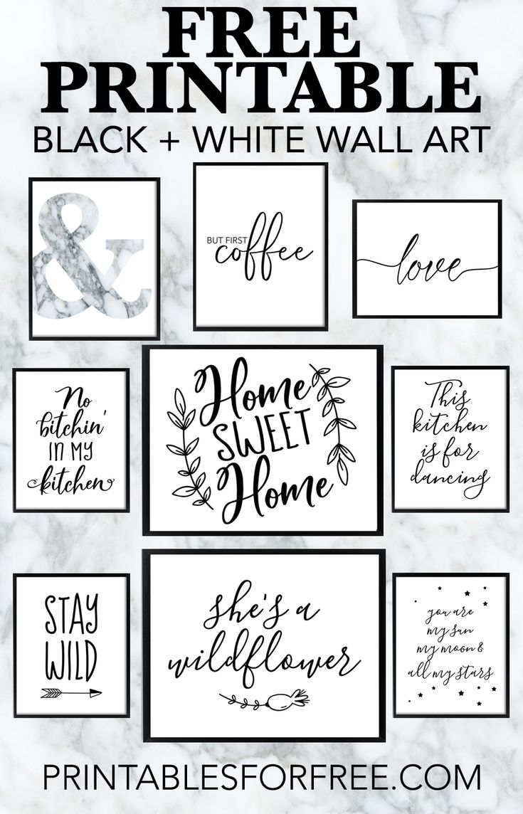 Free Printable Black and White Wall Art – download and print your own wall art for your home decor and office decor #freeprintable #wallart #blackandw…