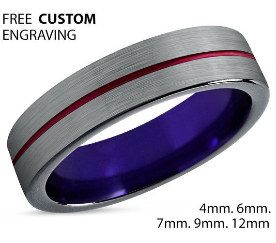 arcadia wedding band. tungsten ring mens red black purple wedding band carbide 6mm mans arcadia n