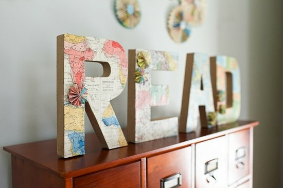 Decorate with old maps (via @BrightNest Blog) #DIY: Idea, Wall Signs, Maps Letters, Vintage Maps, Old Maps, Book Pages, Covers Letters, Cardboard Letters, Woods Letters