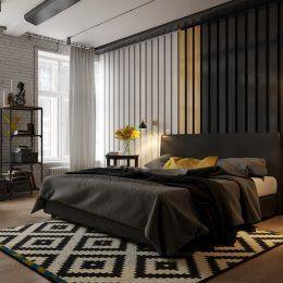 Студия LESH | Главный объект любой спальни — кровать, в этом проекте она выполнена в глубоком черном цвете, благодаря чему сливается со стеной у изголовья кровати