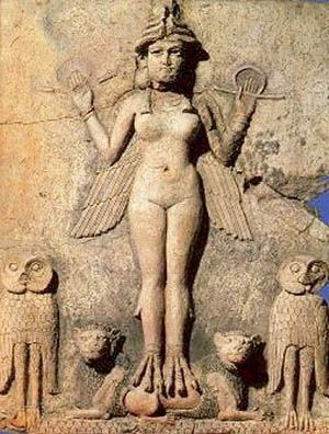 "Ishtar, Assyrian and  Babylonian goddess of fertility, war, love, and sex. She is the counterpart to the Sumerian Inanna and to the north-west Semitic goddess, Astarte.    Ishtar was the goddess of love and war, above all associated with sexuality: her cult involved sacred prostitution; her holy city Uruk was called the ""town of the sacred courtesans""; and she herself was the ""courtesan of the gods."""