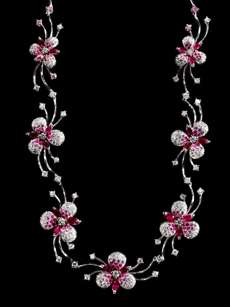 Rosendorff Indulgence Collection Pink Sapphire and Diamond Necklace - Close Up View