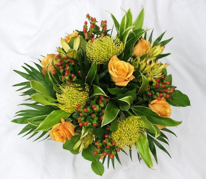 Pincushions, Roses, Hypericum and Leucadendron
