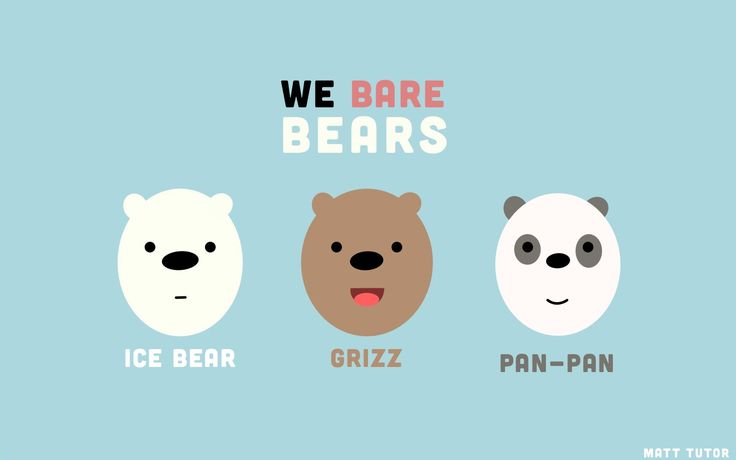 "Minimalist We Bare Bears Wallpaper for MacBook Air 13""  1440 x 900"