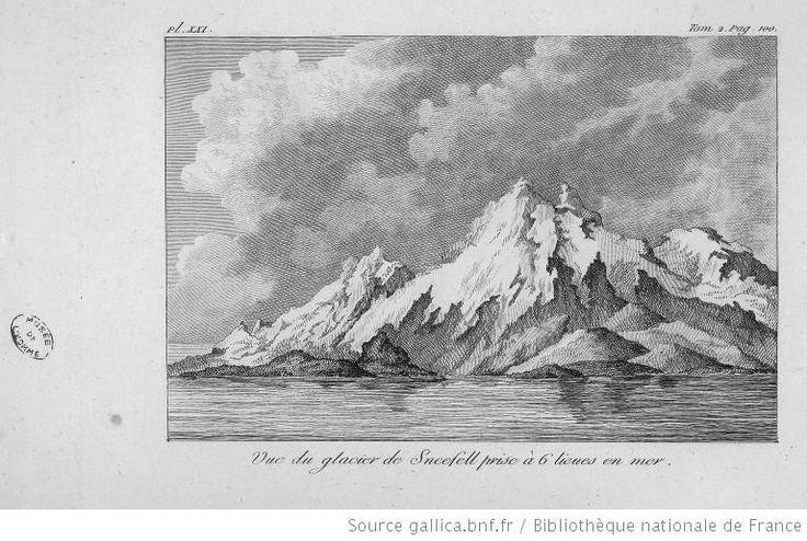 [Illustrations de Atlas du voyage en Islande]«[Tome 2 pl.XXI p.100 :] Vue du glacier de Sneefell prise à 6 lieues en mer. [Cote : Réserve A 200 242 Atlas]»