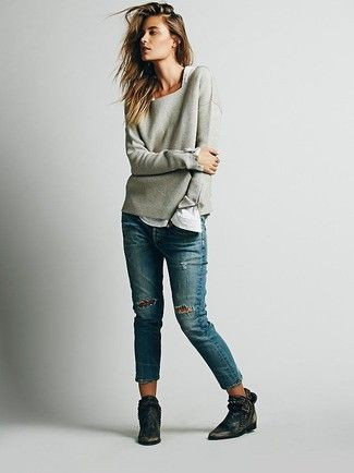 Women's Grey Oversized Sweater, White Long Sleeve T-shirt, Blue Patchwork Jeans, Black Leather Ankle Boots