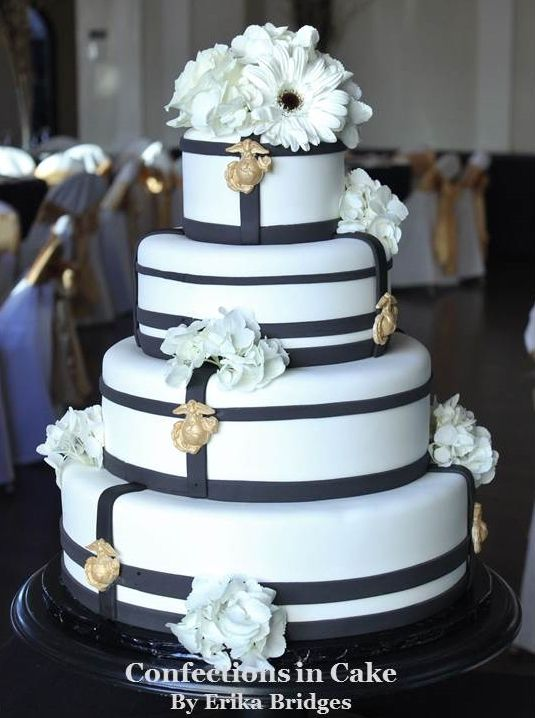 Marines USMC inspired wedding cake with gold colored white chocolate insignia buttons molded after the real thing.