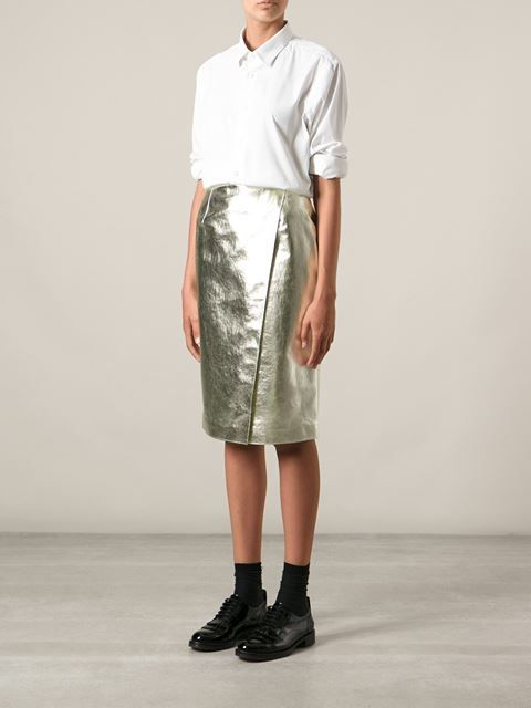 Msgm Metallic Pencil Skirt - Smets - Farfetch.com -GOLD - METALLIC - TREND - FW 2014