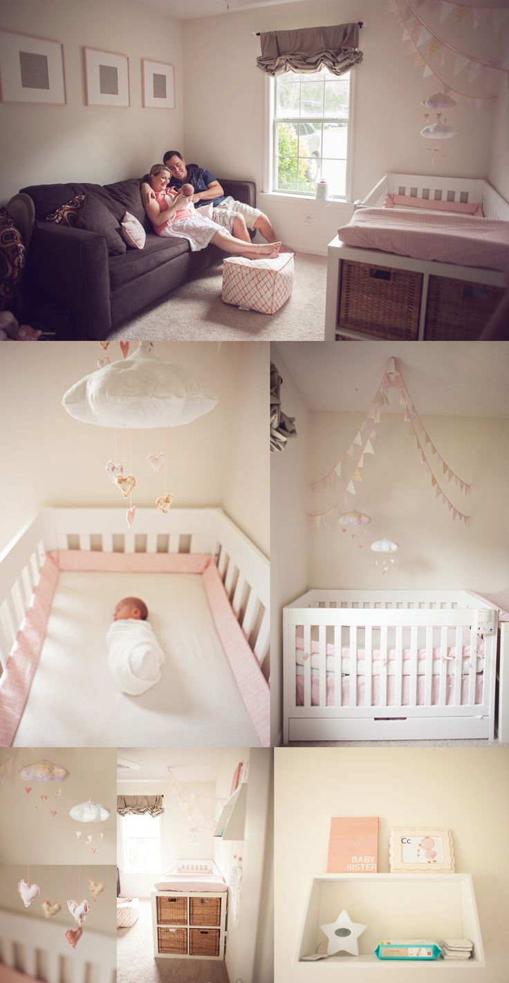 sweet pink and cream nursery with Baby Jives Co heart clouds