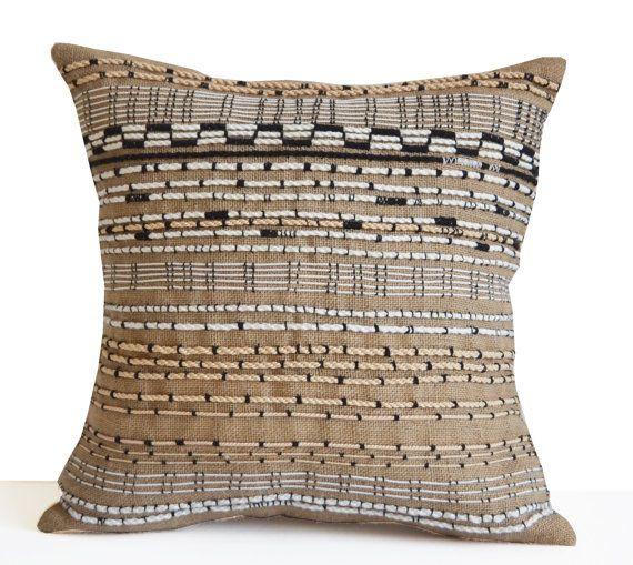 Burlap Pillow Cover Boho Pillow Bohemian Pillow by AmoreBeaute