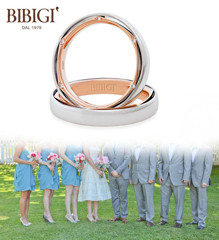 Bibigì #wedding ring White and pink gold ring with diamonds. A ...