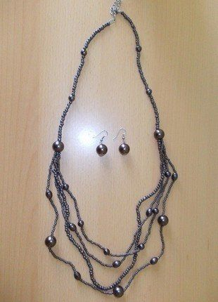 Kup mój przedmiot na #vintedpl http://www.vinted.pl/akcesoria/bizuteria/18454257-komplet-zestaw-naszyjnik-i-kolczyki-z-koralikami-grafitowy