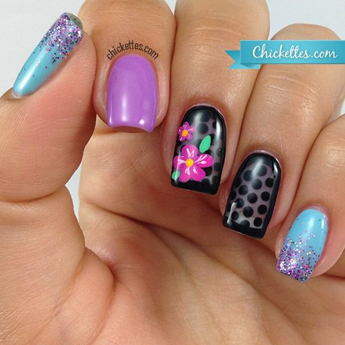 Chickettes.com sheer black polka dot nails with flowers and glitter