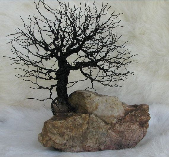 Wire Tree perched on a rock outcrop by philanooga on Etsy