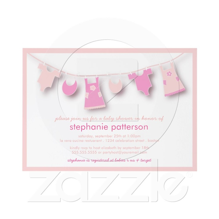 free printable camo baby shower invitations templates%0A Cute Baby Clothes on the Line for Girl Baby Shower Card