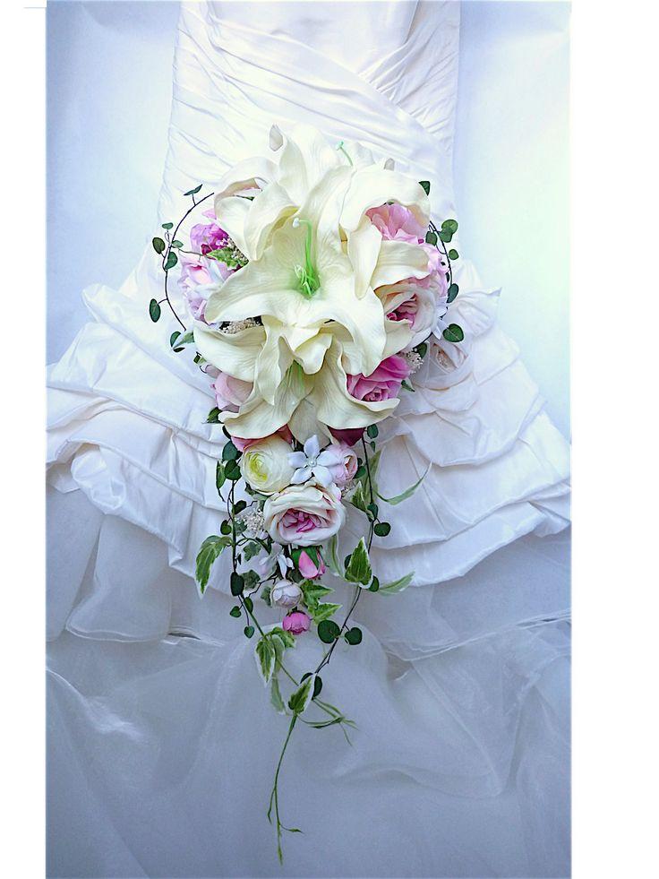 Bouquet de mariée en cascade lis blanc cassé rose pâle jasmin fleur artificielle pour mariage (réf-bouquet-c027) : Autres accessoires par fleur-angelique