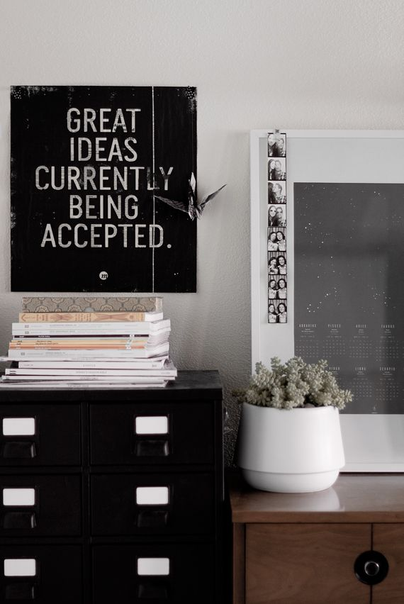 Decor, Offices Spaces, Black Cabinets, The Offices, Inspiration Quotes, Gray Wall, Design Blog, Home Offices, Offices Wall