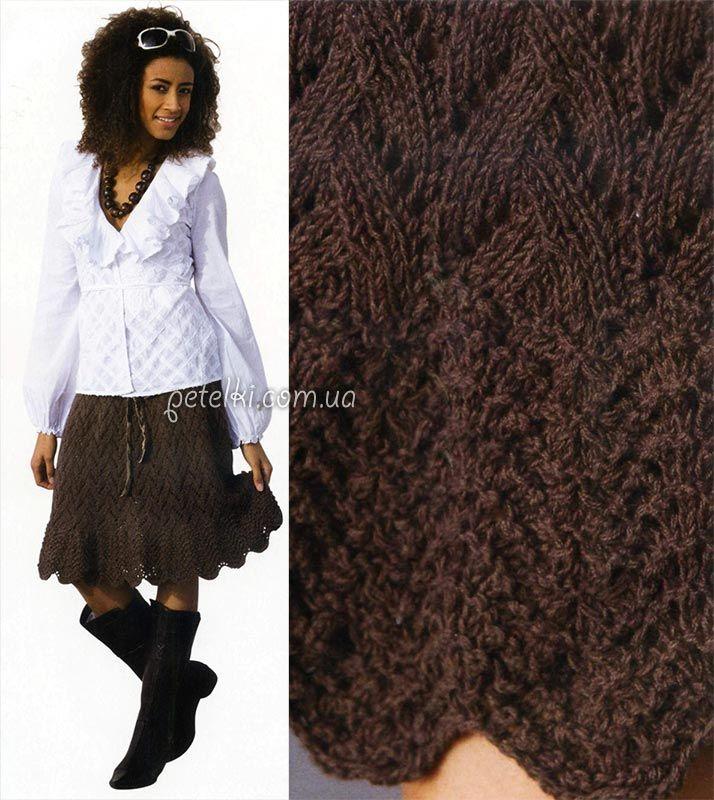 Теплая вязаная юбка спицами. Описание вязания