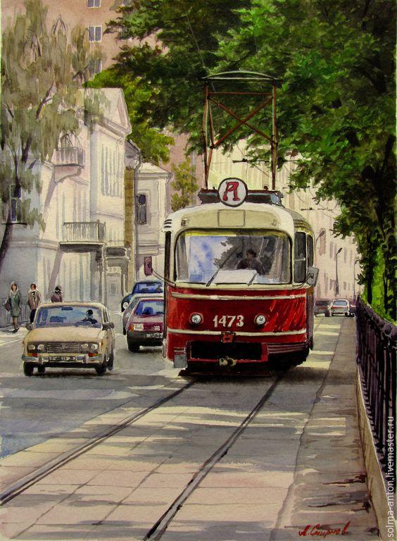 """Купить Акварель """"Аннушка"""" - ярко-красный, трамвай, улица, машины, город, лето, акварель"""