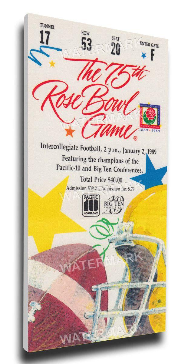 Michigan Wolverines Wall Art - 1989 Rose Bowl Canvas Mega Ticket