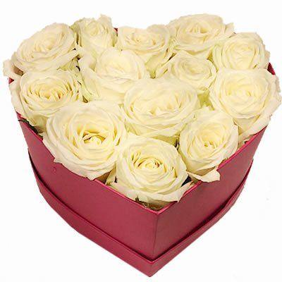"""13 роз сорта """"Аваланж"""" в коробке размером 20х19х8"""