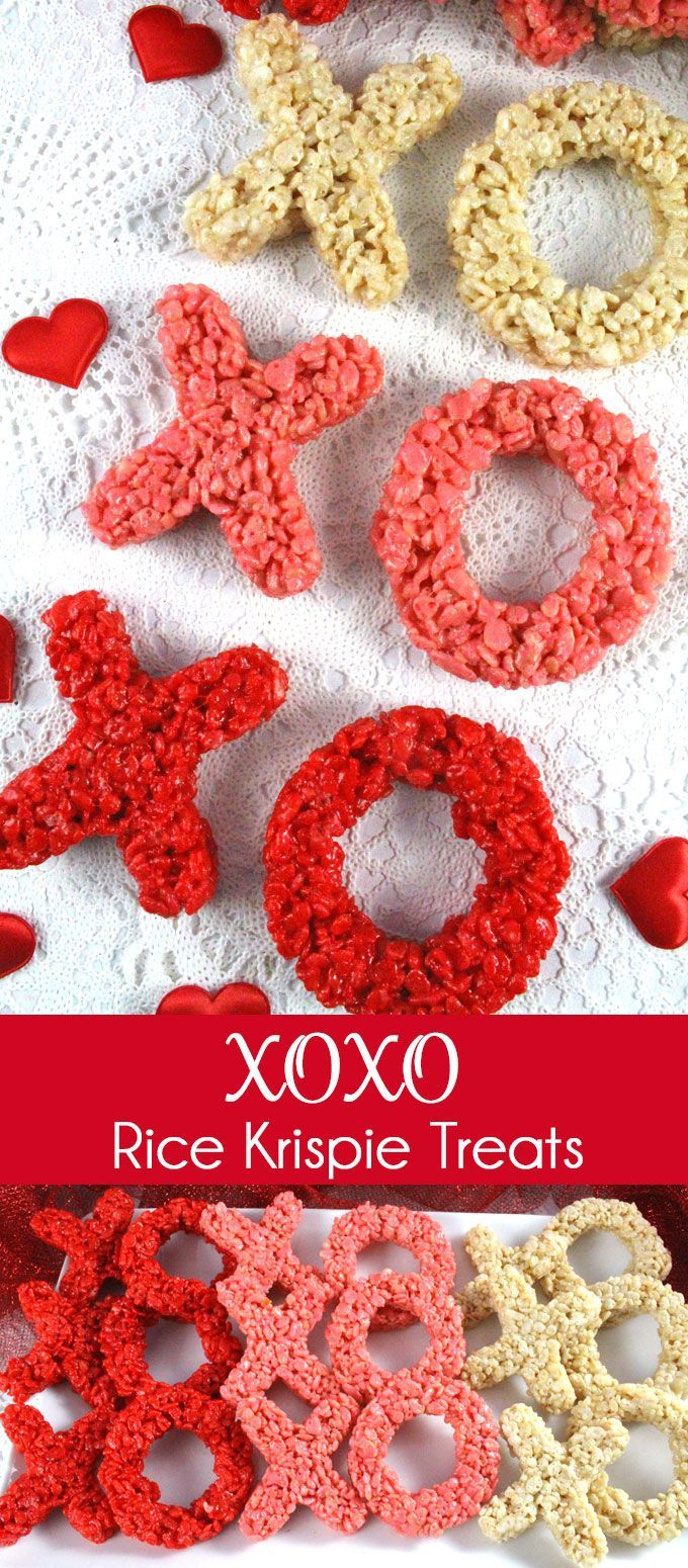 These Ombre colored XOXO Rice Krispie Treats are adorable, delicious, and make the perfect Valentines Day Treat!