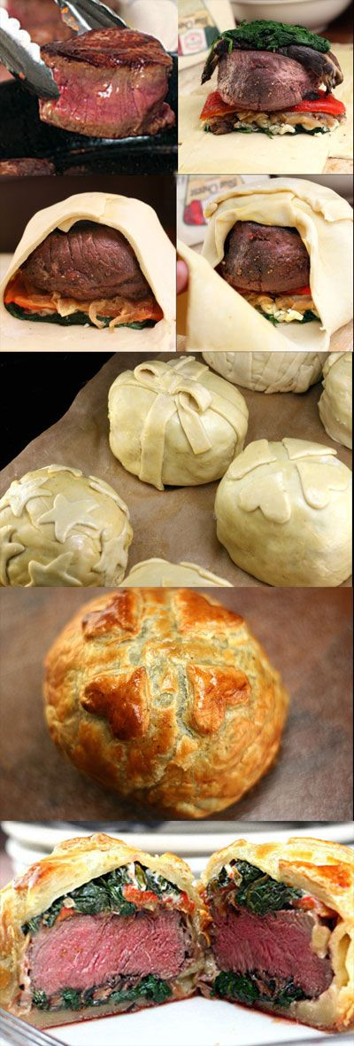 Recipe for Individual Beef Wellingtons with Mushroom, Spinach, Roasted Pepper, and Blue Cheese Filling. Decorate them like little gifts for the holidays! #recipe #christmas #dinner #recipe #easy #healthy #recipes