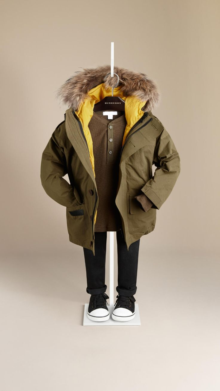 Two-Layer Showerproof Parka with Fur Trim