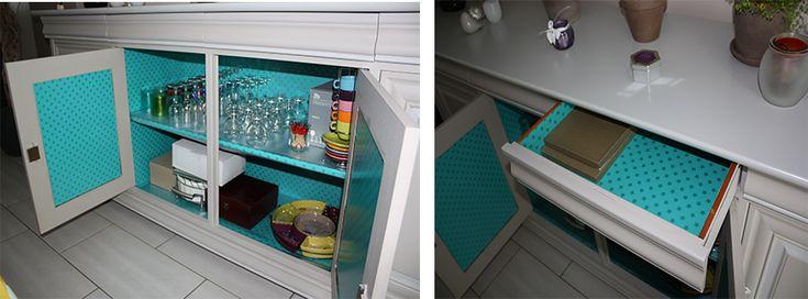 Tapisser l 39 int rieur d 39 un meuble pour le relooker dans mon cocon - Relooker une armoire ikea ...