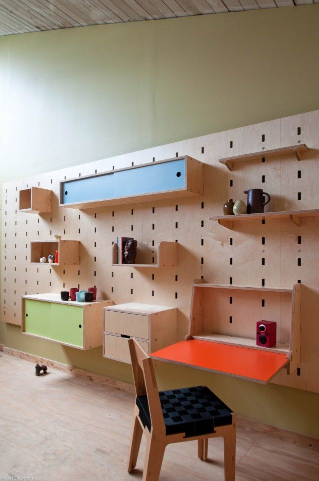 kerfwall - Wow! What neat design for organizing!  It would be great for children's bedrooms and playrooms as they grow - from kerf design.com