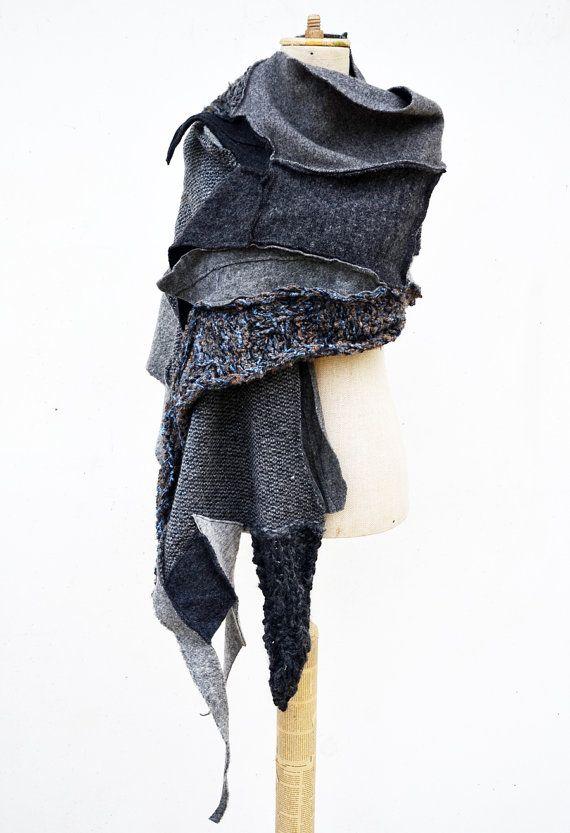 Wool Felt Hand knited shawl Cozy warm grey silver by ZOJKAshop