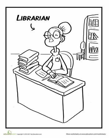 Librarian Coloring Page | Library Goodness | Teacher librarian ...