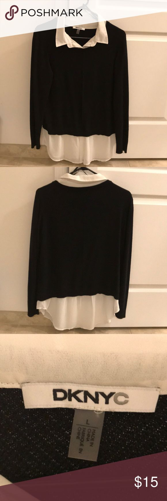 DKNYC Layered Look-Built In Faux Shirt Pullover Excellent Used Condition. DKNYC Womens Layered Look-Built In Faux Shirt Pullover Sweater. Black & White. DKNYC Sweaters