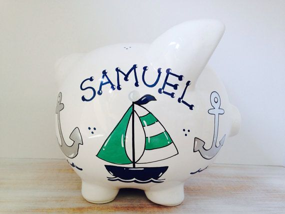 15 best jumbo banks images on pinterest piggy banks baby shower gifts and baby shower presents - Nautical piggy banks ...
