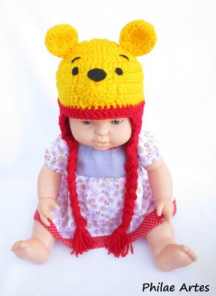 Touca Ursinho Pooh beanie crochet croche crochê by philae artes