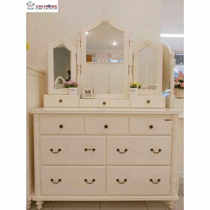 CODE: MR 100 (MIRROR) & DR 100 (DRESSER) Mahogany wood Ready stock.  Available at the unbeatable price at #unihonefurniture