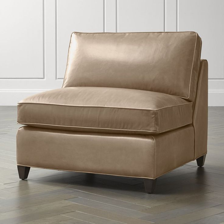 Barrett leather armless chair reviews crate and barrel