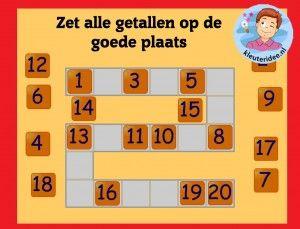 Zet alle getallen op de goede plaats met kleuters op digibord of computer  op kleuteridee.nl, Kindergarten math game for IBW or computer